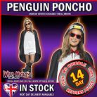 ADULT MENS LADIES WATERPROOF FESTIVAL ANIMAL PRINT PARTY PONCHO - PENGUIN